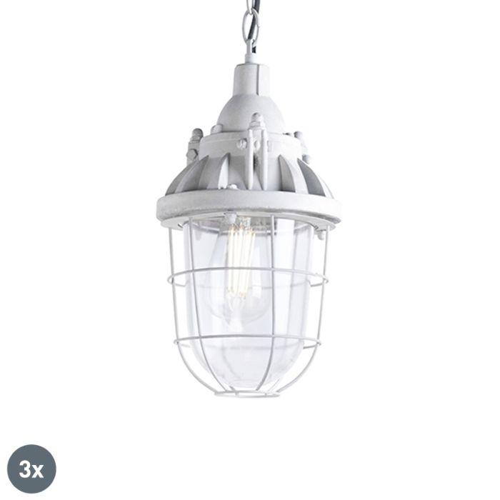 Set-van-3-industriële-hanglampen-grijs---Cabin