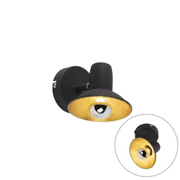 Design-wand--en-plafondspot-zwart-met-goud-1-lichts---Avril