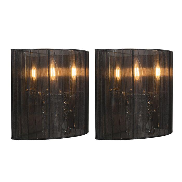 Set-van-2-wandlampen-chroom-met-zwarte-kap---Ann-Kathrin-2