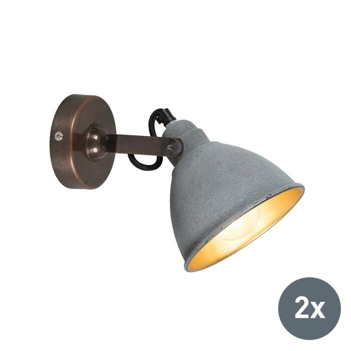 Set-van-2-industriële-wandlamp-grijs-met-brons---Liko