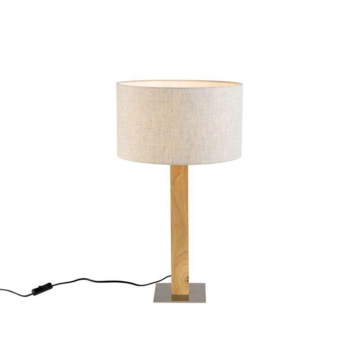 Landelijke-rechte-tafellamp-hout-met-peperkleurige-kap-35cm---Pillar