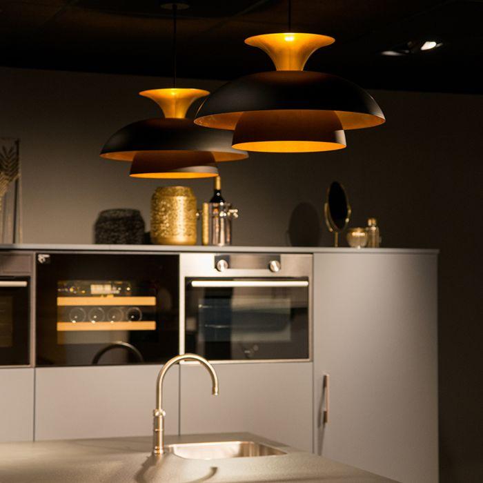 Moderne-ronde-hanglamp-zwart-met-goud-3-laags---Titus