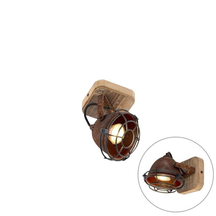 Industriële-spot-roestbruin-met-hout-kantelbaar---Gina