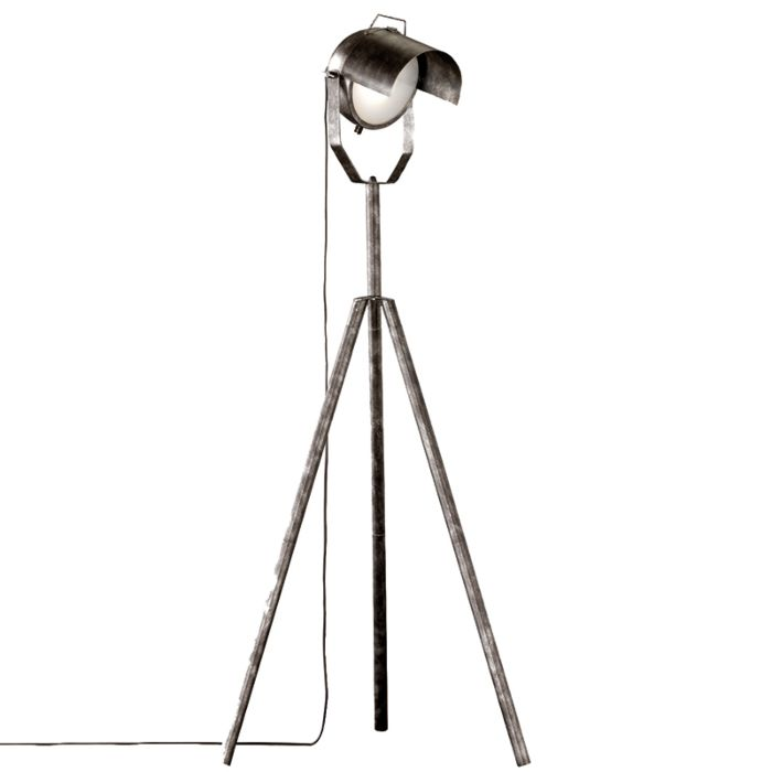 Industriële-tripod-vloerlamp-zilver---Cinema