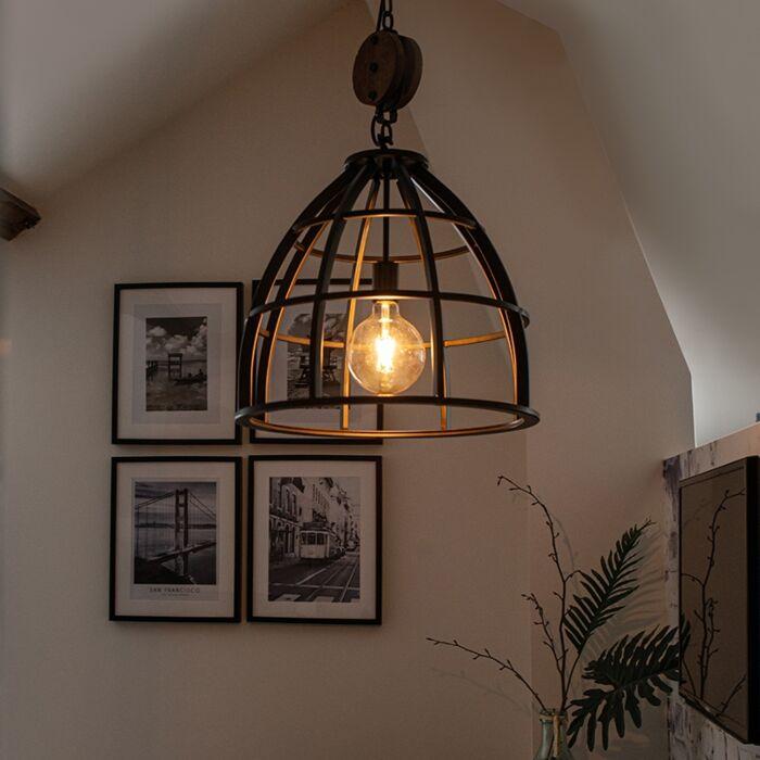 Industriële-ronde-hanglamp-zwart-staal-47-cm---Arthur