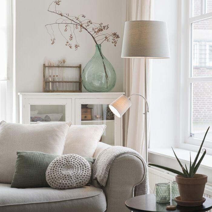 Klassieke-vloerlamp-staal-met-grijze-kap-en-leeslampje---Retro