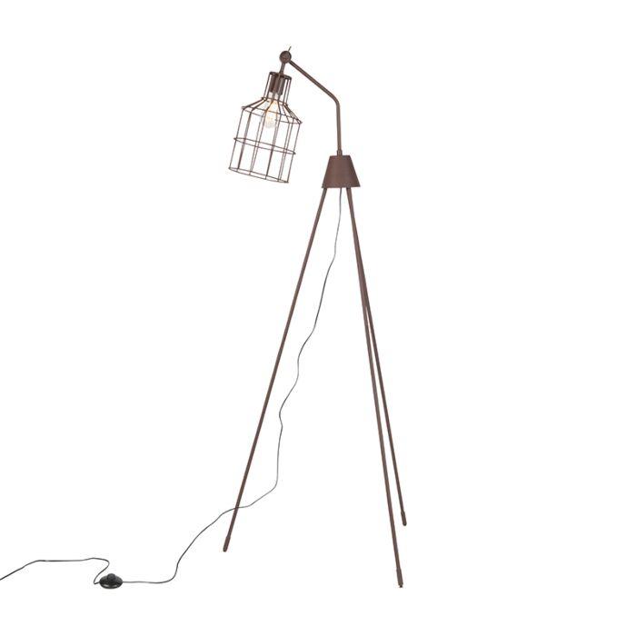 Industriële-vloerlamp-met-driepoot-bruin---Wanda