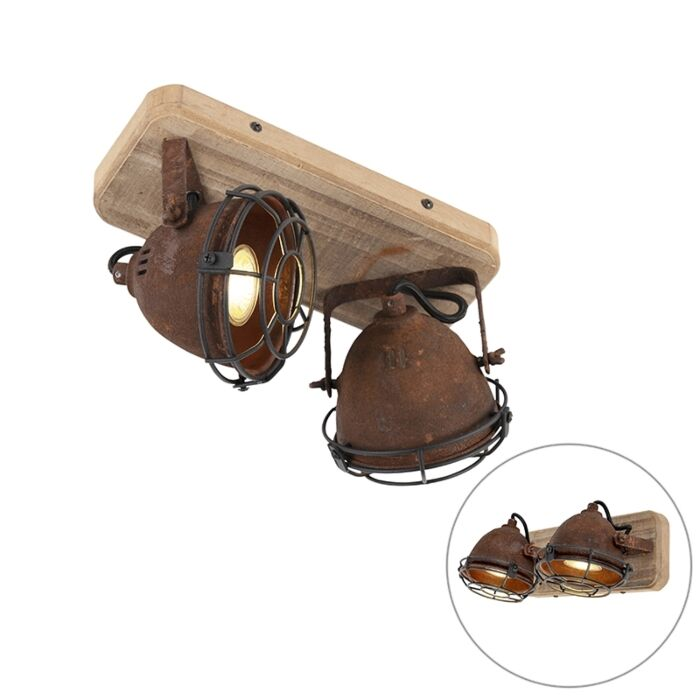 Industriële-spot-roestbruin-met-hout-kantelbaar-2-lichts---Gina