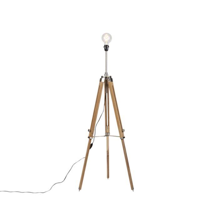 Landelijke-vloerlamp-tripod-hout-met-staal---Cortin