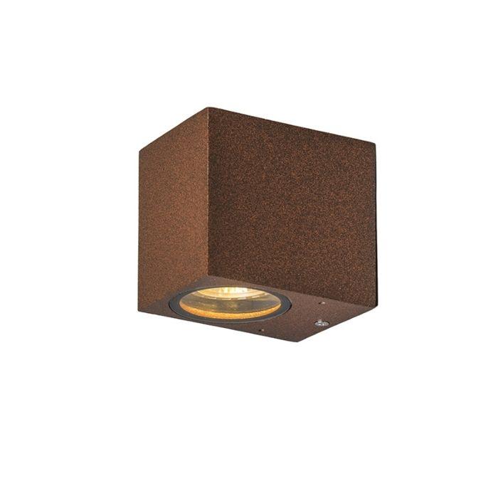 Set-van-2-industriële-wandlampen-roestbruin-IP44---Baleno-I