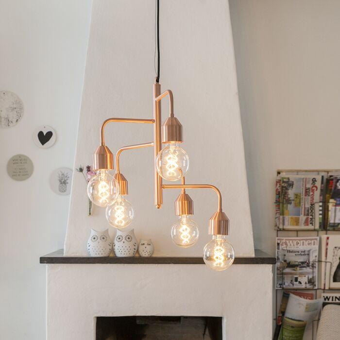 Industriële-hanglamp-koper-5-lichts---Darren