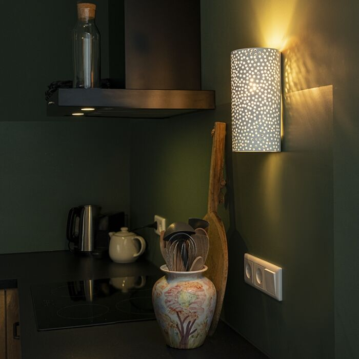 Vintage-cilindervormige-wandlamp-wit-gips---Mahou