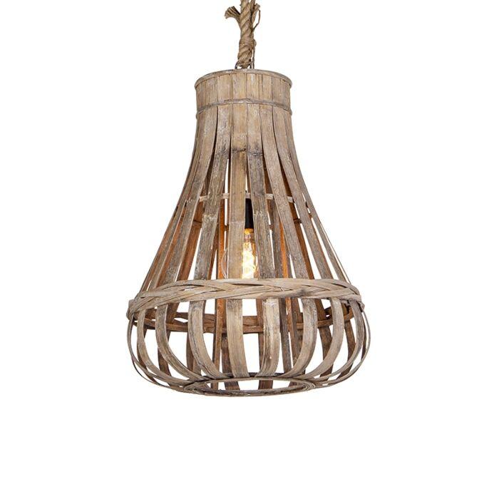 Landelijke-hanglamp-hout-met-touw-42cm---Excalibur