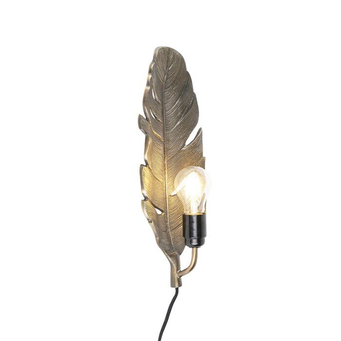 Art-Deco-wandlamp-brons---Leaf