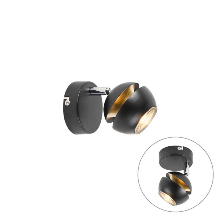 Moderne-spot-1-lichts-zwart-met-gouden-binnenkant---Buell-Deluxe