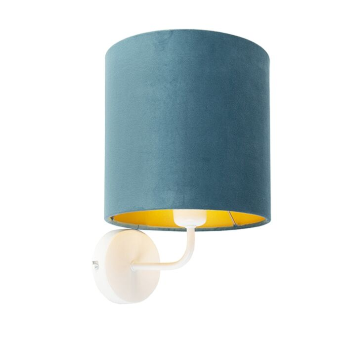 Vintage-wandlamp-wit-met-blauwe-velours-kap---Matt