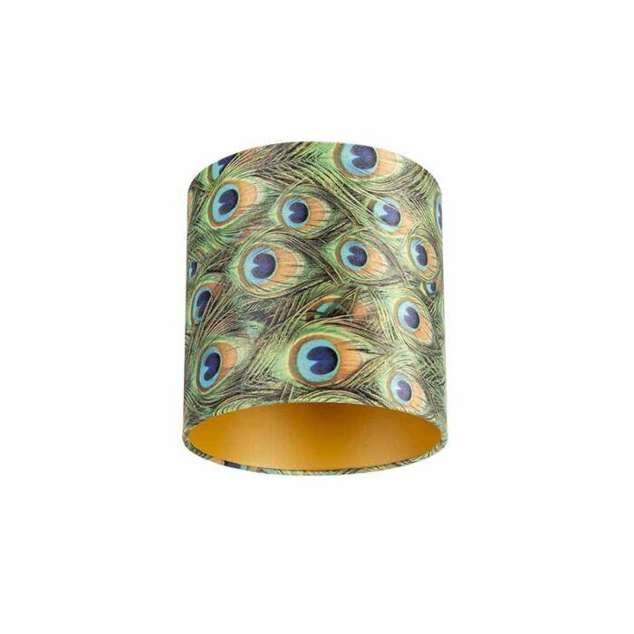 Velours-lampenkap-pauw-dessin-25/25/25-met-gouden-binnenkant