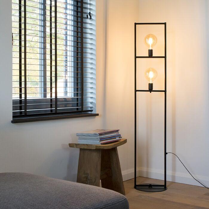 Industriële-vloerlamp-2-lichts-zwart---Simple-Cage