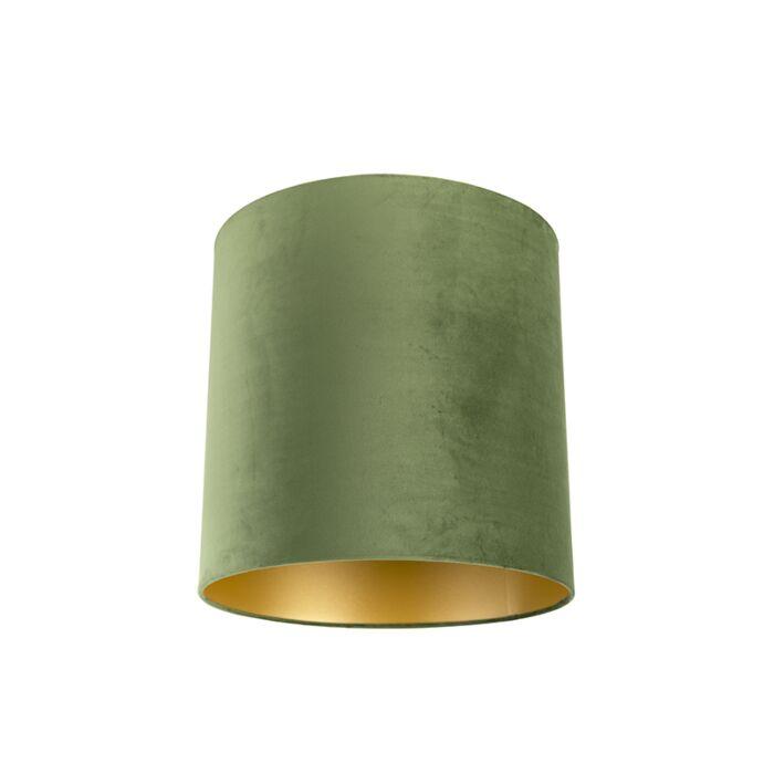 Velours-lampenkap-groen-40/40/40-met-gouden-binnenkant
