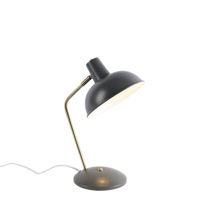 Retro-tafellamp-grijs-met-brons---Milou