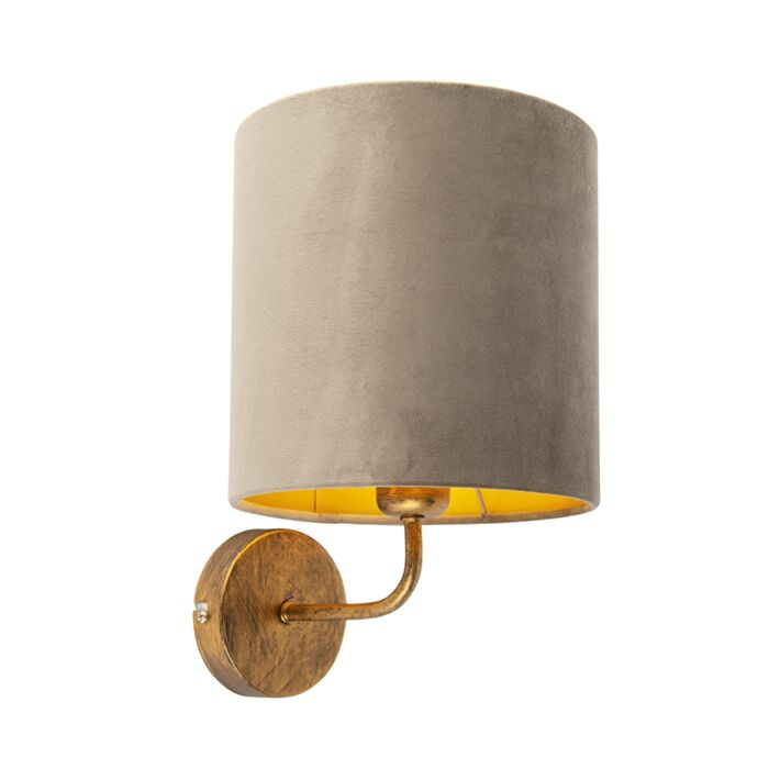 Vintage-wandlamp-goud-met-taupe-velours-kap---Matt