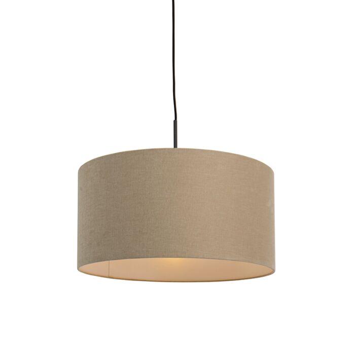 Landelijke-hanglamp-zwart-met-beige-kap-50-cm---Combi-1