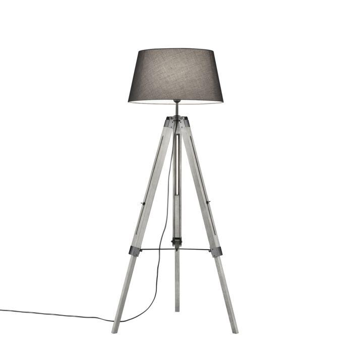 Landelijke-vloerlamp-hout-met-grijze-kap---Tripod