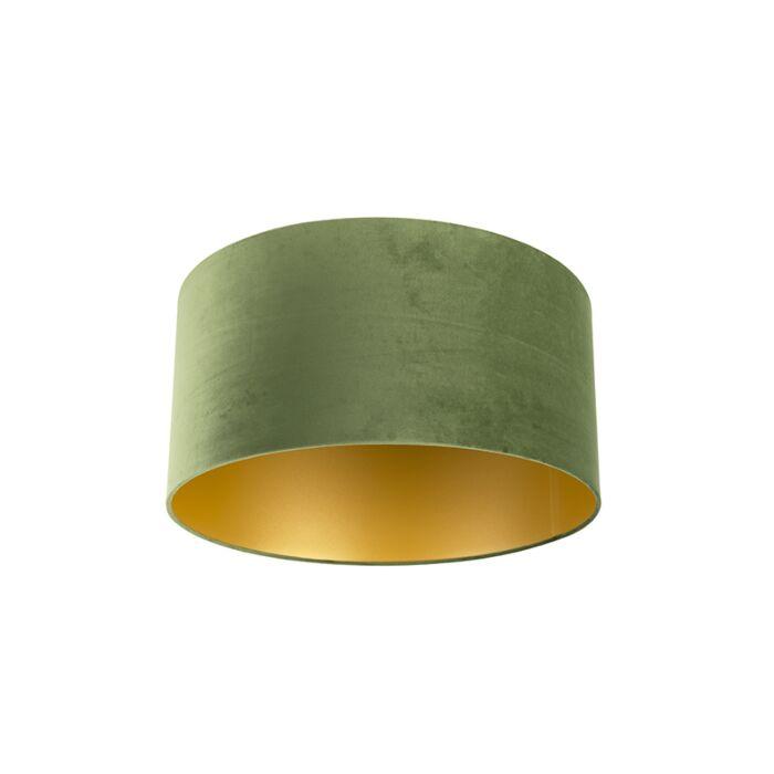Velours-lampenkap-groen-50/50/25-met-gouden-binnenkant