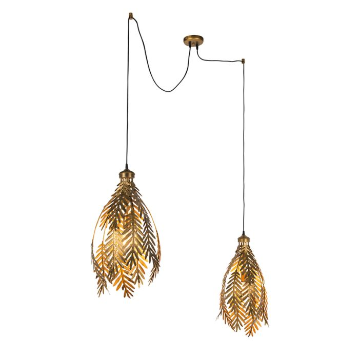 Vintage-hanglamp-2-lichts-goud---Botanica