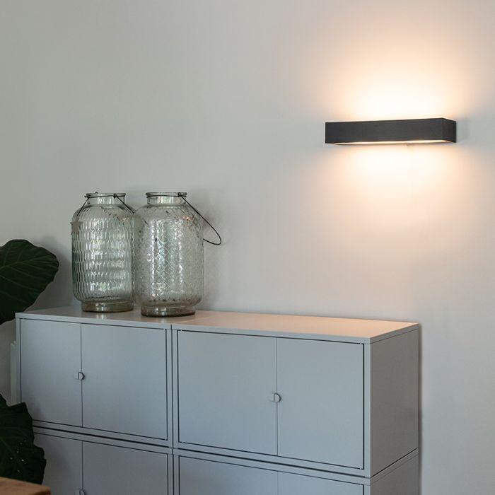Design-langwerpige-wandlamp-zwart-35-cm---Houx