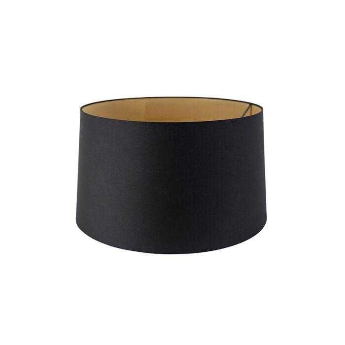 Katoenen-lampenkap-zwart-45/50/28-met-gouden-binnenkant
