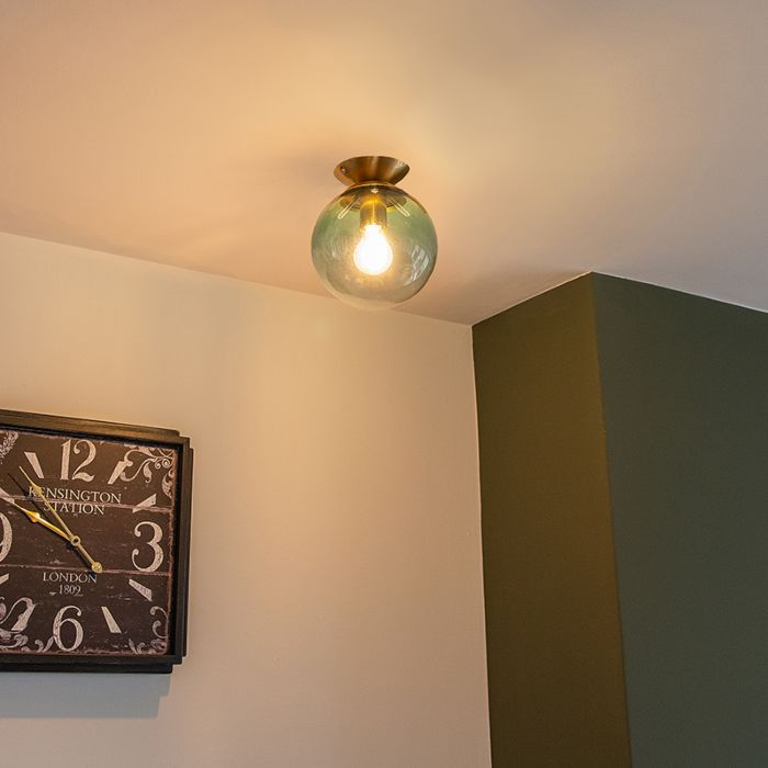 Art-deco-plafondlamp-messing-met-groen-glas---Pallon