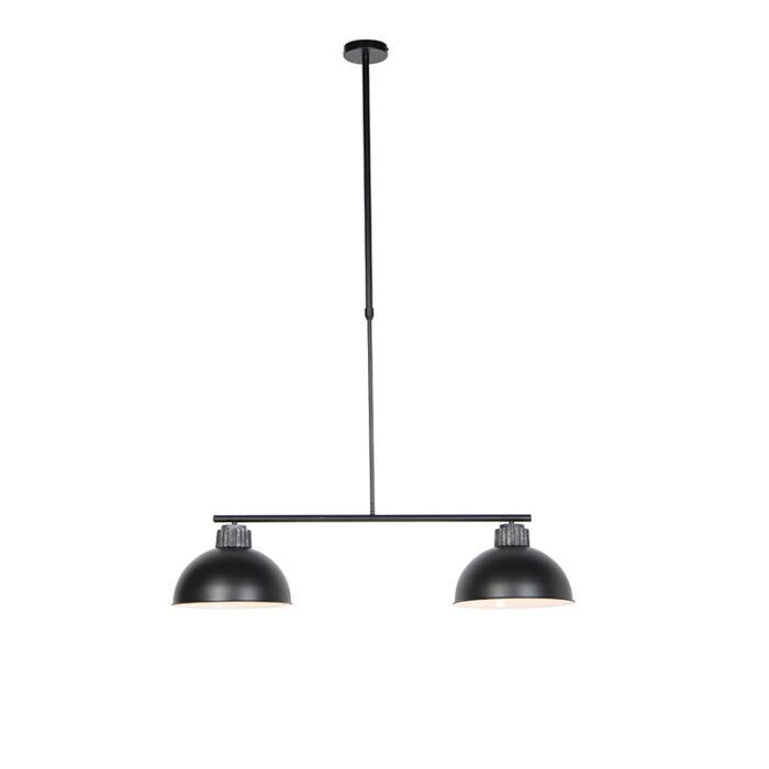 Industriele-hanglamp-zwart-met-zilver-2-lichts---Frodo