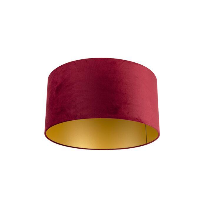 Velours-lampenkap-rood-50/50/25-met-gouden-binnenkant