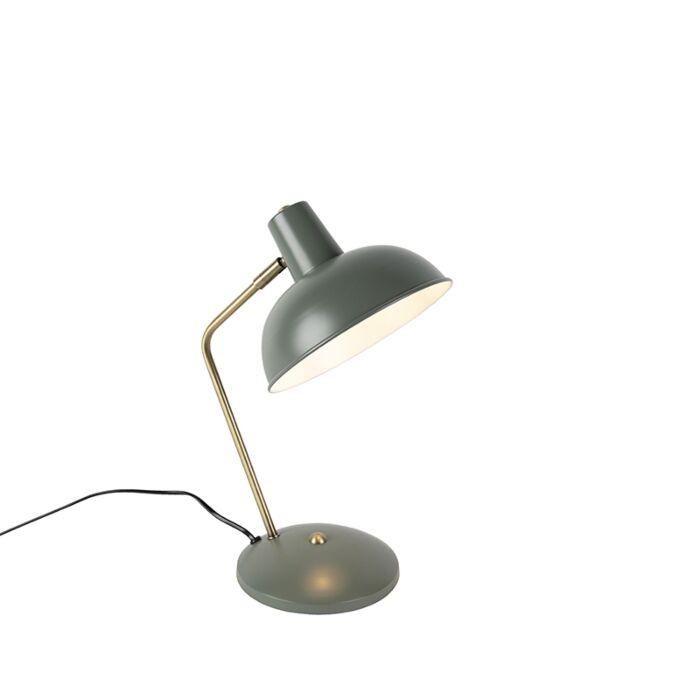 Retro-tafellamp-groen-met-brons---Milou
