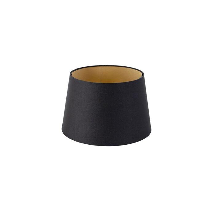 Katoenen-lampenkap-zwart-25/20/16-met-gouden-binnenkant