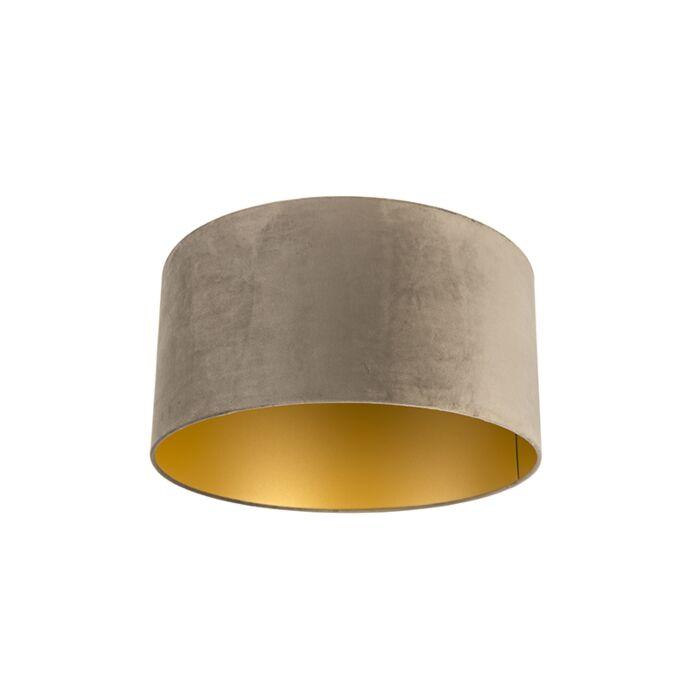 Velours-lampenkap-taupe-50/50/25-met-gouden-binnenkant