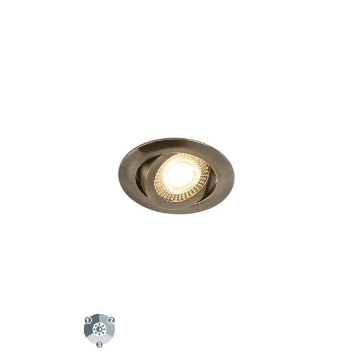 Set-van-5-moderne-inbouwspots-brons-incl.-LED-3-staps-dimbaar---Mio