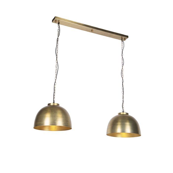 Industriële-hanglamp-antiek-messing-2-lichts---Hoodi
