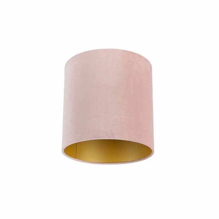 Velours-lampenkap-roze-25/25/25-met-gouden-binnenkant