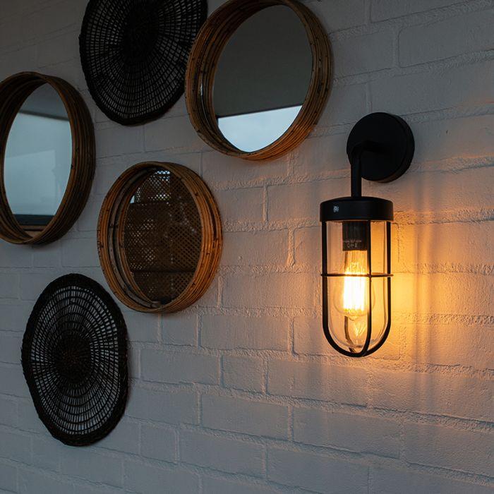 Landelijke-buitenwandlamp-zwart-met-glas---Elza