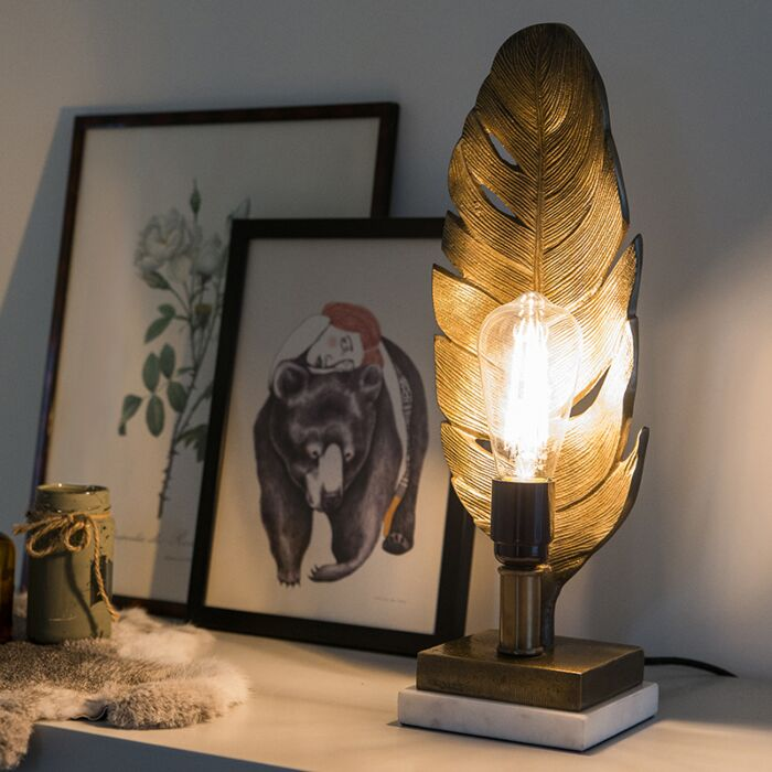Art-Deco-tafellamp-brons-met-marmeren-voet---Leaf