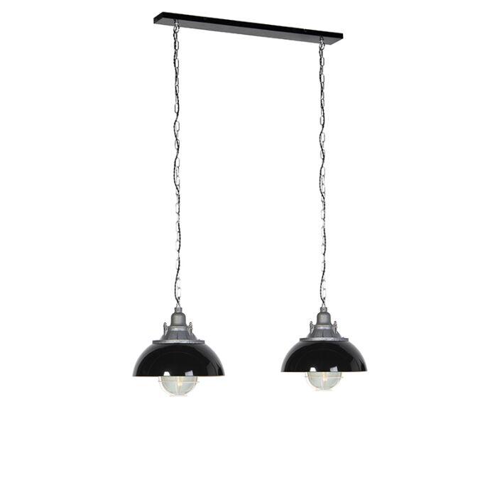 Industriele-hanglamp-zwart-2-lichts---Nelly