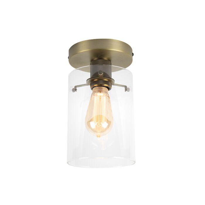 Moderne-plafondlamp-brons-met-glas---Dome