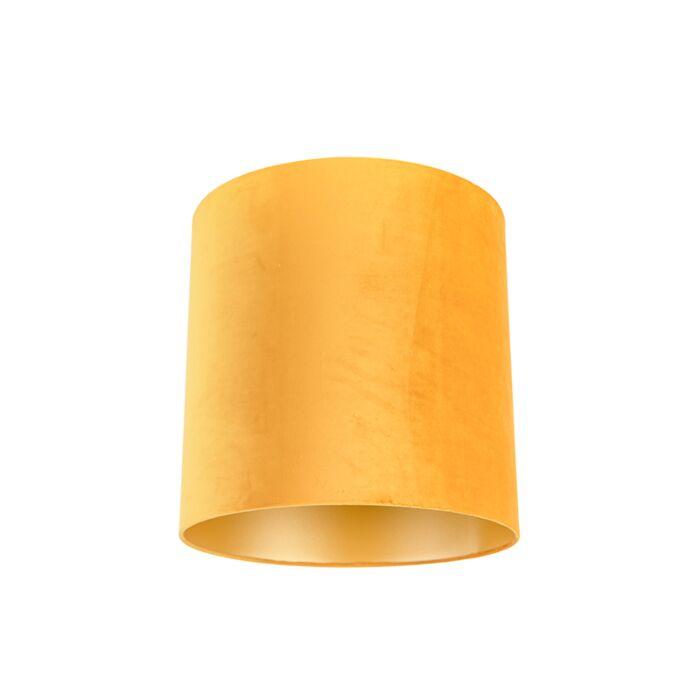 Velours-lampenkap-geel-40/40/40-met-gouden-binnenkant