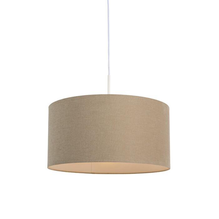 Landelijke-hanglamp-wit-met-beige-kap-50-cm---Combi-1