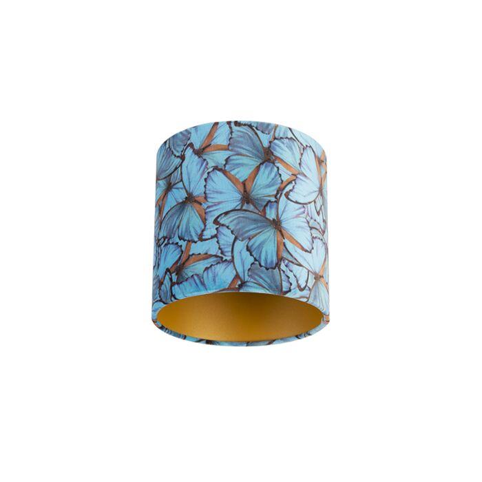 Velours-lampenkap-vlinder-dessin-20/20/20-gouden-binnenkant