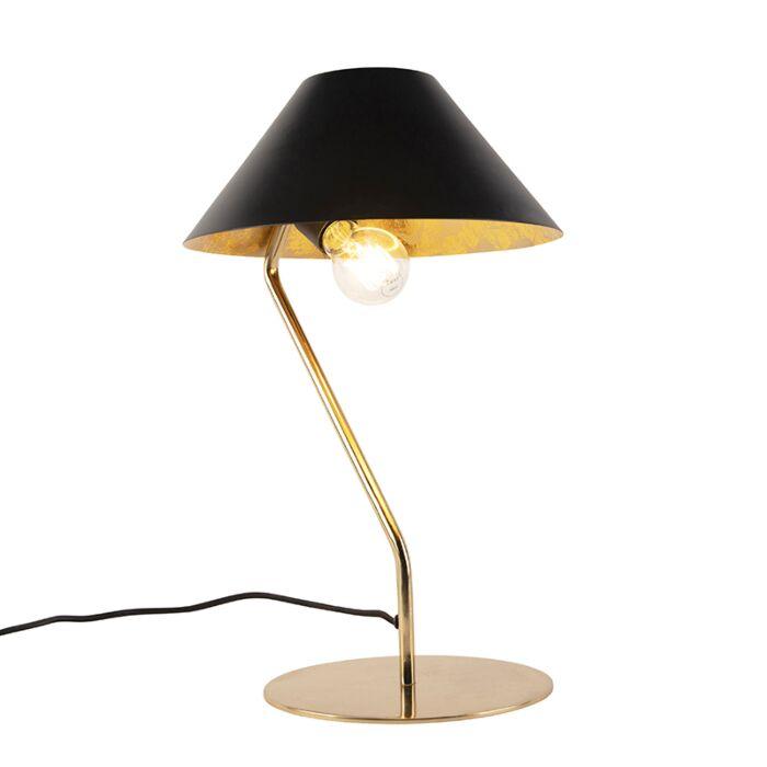 Art-deco-tafellamp-zwart-met-gouden-binnenkant---Knick
