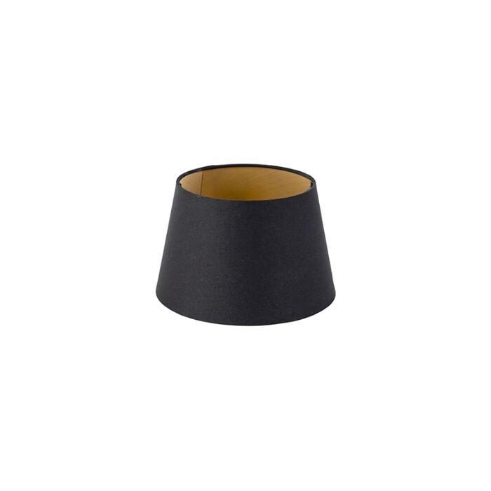 Katoenen-lampenkap-zwart-20/15/13-met-gouden-binnenkant