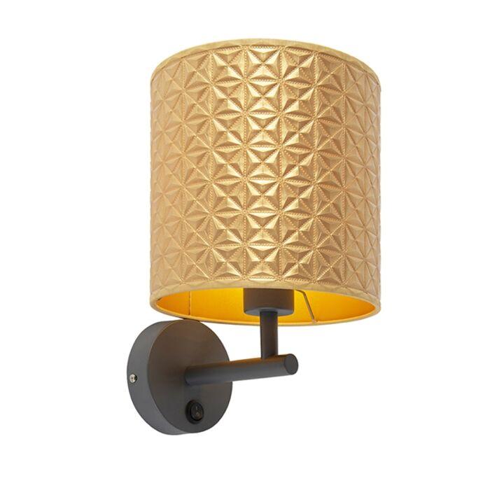 Vintage-wandlamp-donkergrijs-met-goud-triangle-kap---Matt